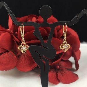 Jewelry - 10k Gold & Diamond Flower Dangle Earrings